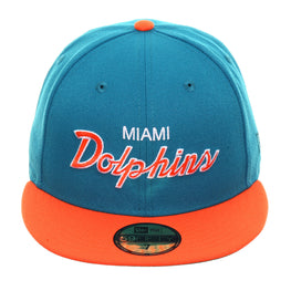 Exclusive New Era 59Fifty Miami Dolphins Hat - 2T Teal, Orange
