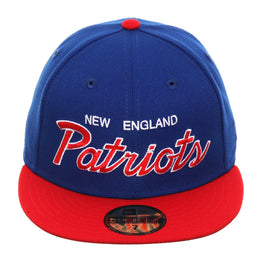 Exclusive New Era 59Fifty New England Patriots Script Hat - 2T Royal, Red