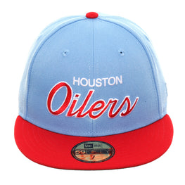 Exclusive New Era 59Fifty Houston Oilers Hat - 2T Light Blue, Red