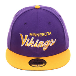 Exclusive New Era 59Fifty Minnesota Vikings Script Hat - 2T Purple, Gold