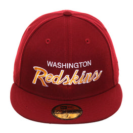 Exclusive New Era 59Fifty Washington Redskins Script Hat - Cardinal