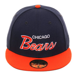 Exclusive New Era 59Fifty Chicago Bears Script Hat - 2T Navy, Orange