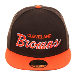 Exclusive New Era 59Fifty Cleveland Browns Script Hat - 2T Brown, Orange