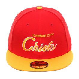 Exclusive New Era 59Fifty Kansas City Chiefs Script Hat - 2T Red, Gold