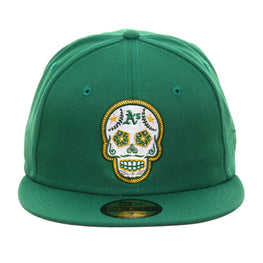 Exclusive New Era 59Fifty Oakland Athletics Sugar Skull Hat - Kelly Green