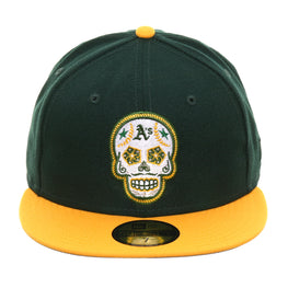 Exclusive New Era 59Fifty Okland Athletics Sugar Skull Hat - 2T Green, Gold