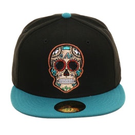 Exclusive New Era 59Fifty Arizona Diamondbacks Sugar Skull Hat - 2T Black, Teal