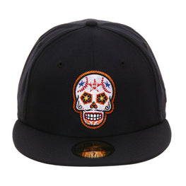 Exclusive New Era 59Fifty Houston Astros Sugar Skull Hat - Navy