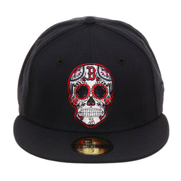 Exclusive New Era 59Fifty Boston Red Sox Sugar Skull Hat - Navy
