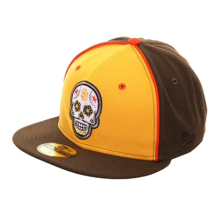 Exclusive New Era 59Fifty San Diego Padres Sugar Skull Rail Hat - Gold, Brown