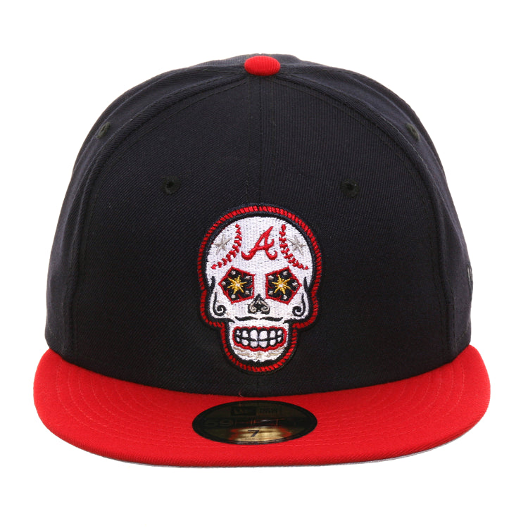 Exclusive New Era 59Fifty Atlanta Braves Sugar Skull Hat - 2T Navy, Red