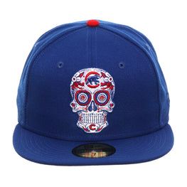 Exclusive New Era 59Fifty Chicago Cubs Sugar Skull Hat - Royal