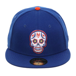 Exclusive New Era 59Fifty New York Mets Sugar Skull Hat - Royal