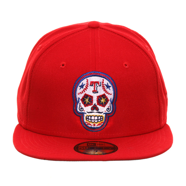 Exclusive New Era 59Fifty Texas Rangers Sugar Skull Hat - Red