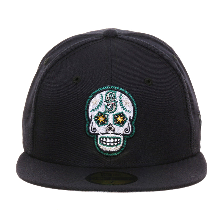 Exclusive New Era 59Fifty Seattle Mariners Sugar Skull Hat - Navy