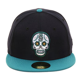Exclusive New Era 59Fifty Seattle Mariners Sugar Skull Rail Hat - 2T Navy, Teal