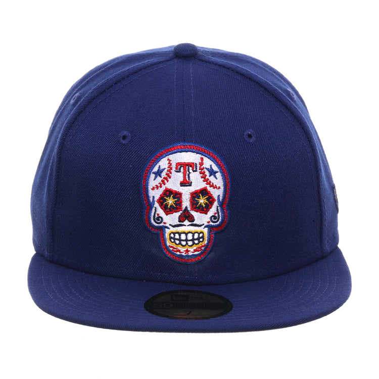 Exclusive New Era 59Fifty Texas Rangers Sugar Skull Hat - Royal