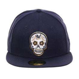 Exclusive New Era 59Fifty Milwaukee Brewers Sugar Skull Hat - Light Navy