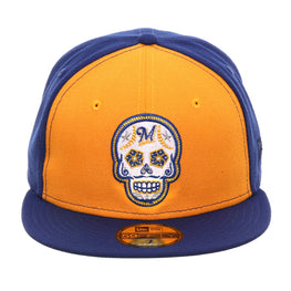 Exclusive New Era 59Fifty Milwaukee Brewers Sugar Skull Rail Hat - Gold, Royal