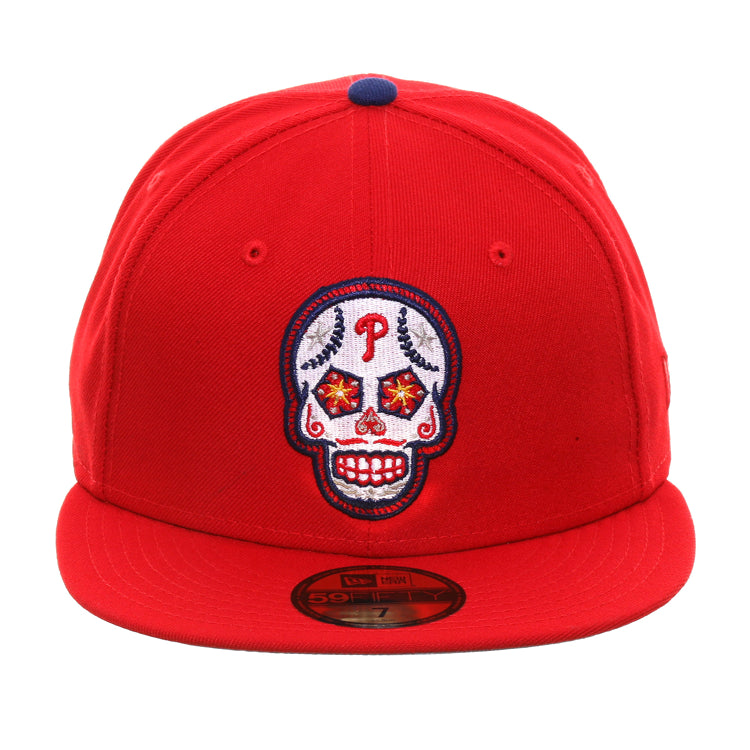 Exclusive New Era 59Fifty Philadelphia Phillies Sugar Skull Hat - Red