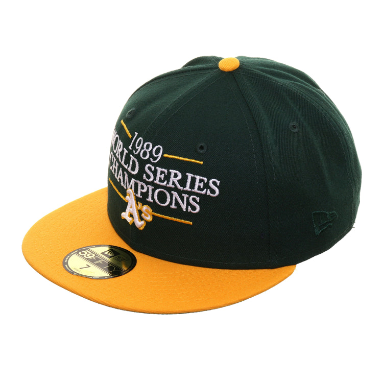 Exclusive New Era 59Fifty 1989 World Series Champions Hat - 2T Green, Gold