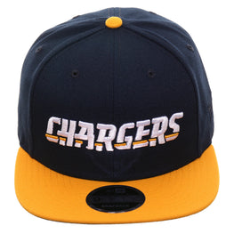 Exclusive New Era 9Fifty Los Angeles Chargers Word Snapback Hat - 2T Navy, Gold