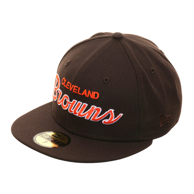 Exclusive New Era 59Fifty Cleveland Browns Script Hat - Brown