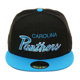 Exclusive New Era 59Fifty Carolina Panthers Script Hat - 2T Black, Neon Blue