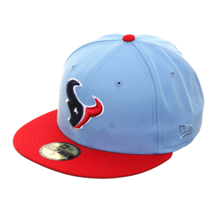 Exclusive New Era 59Fifty Houston Texans Hat - 2T Light Blue, Red