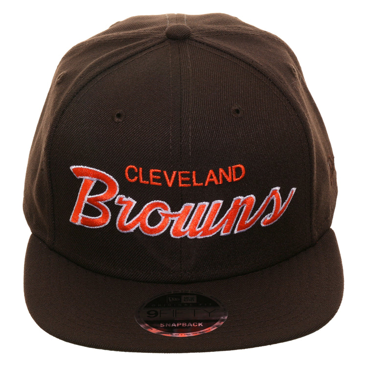 Exclusive New Era 9Fifty Cleveland Browns Script Snapback Hat - Brown
