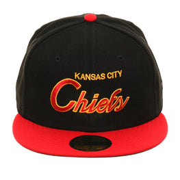 Exclusive New Era 59Fifty Kansas City Chiefs Script Hat - 2T Black, Red