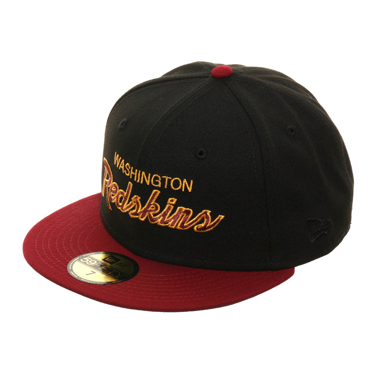 Exclusive New Era 59Fifty Washington Redskins Script Hat - 2T Black, Cardinal