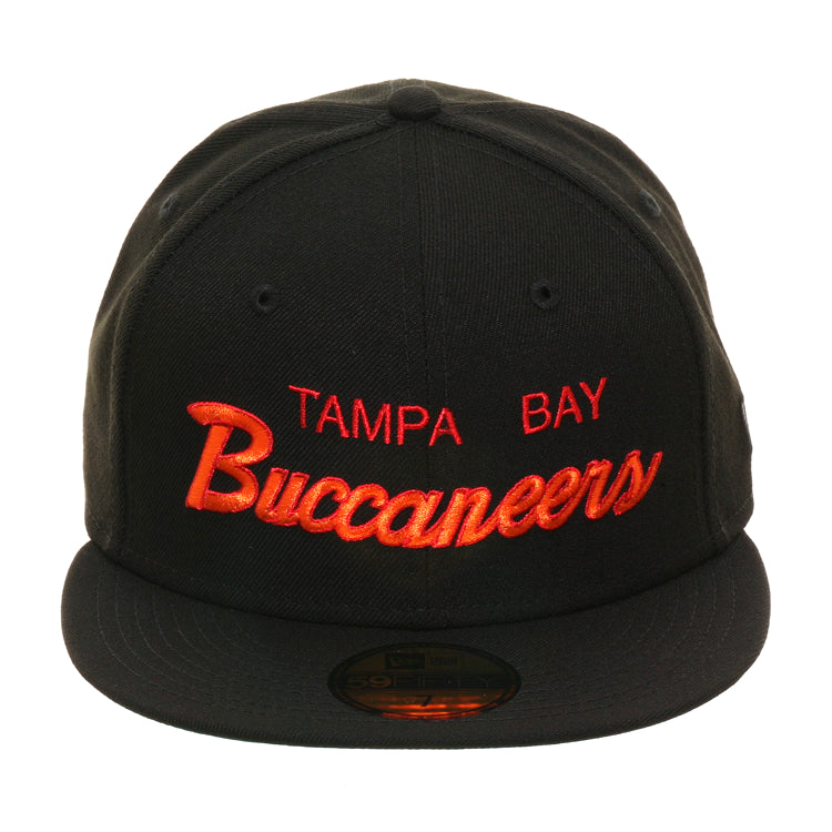 Exclusive New Era 59Fifty Tampa Bay Buccaneers Script Hat - Black
