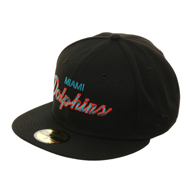 Exclusive New Era 59Fifty Miami Dolphins Script Hat - Black