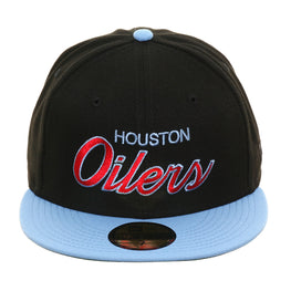 Exclusive New Era 59Fifty Houston Oilers Script Hat - 2T Black, Light Blue