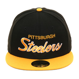 Exclusive New Era 59Fifty Pittsburgh Steelers Script Hat - 2T Black, Gold