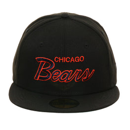 Exclusive New Era 59Fifty Chicago Bears Script Hat - Black