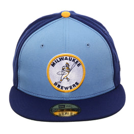 Exclusive New Era 59Fifty Milwaukee Brewers 1970 Logo Rail Hat - Light Blue, Royal