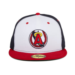 Exclusive New Era 59Fifty Los Angeles Angels 1986 Logo Rail Hat - White, Navy, Red