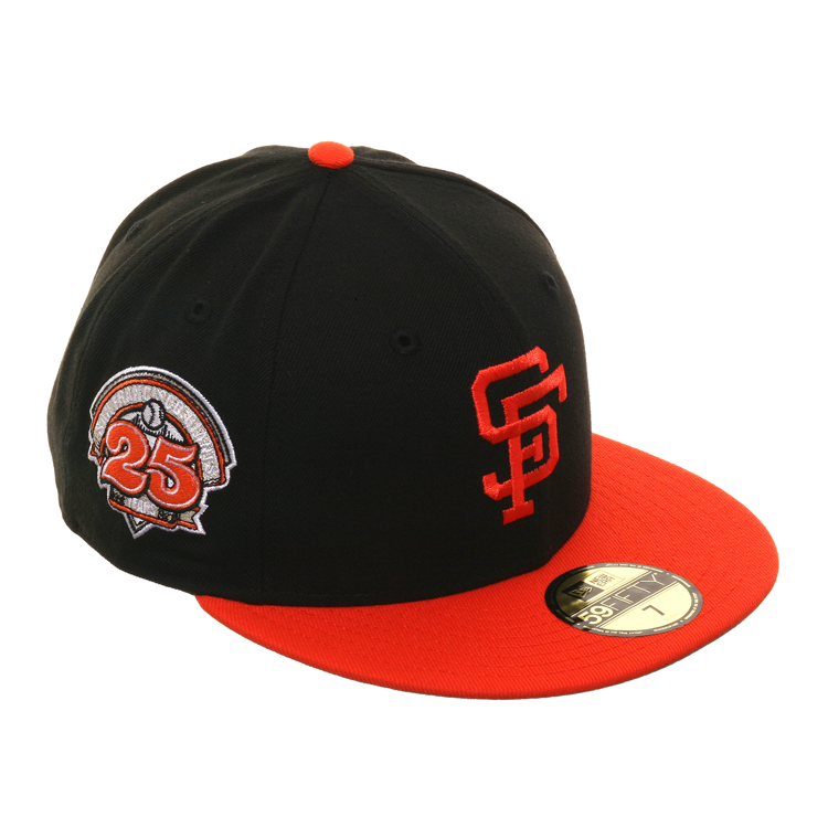 Exclusive New Era 59Fifty San Francisco Giants 25th Anniversary Patch Hat - 2T Black, Orange