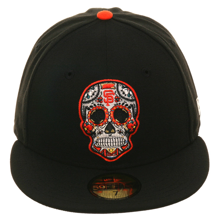 Exclusive New Era 59Fifty San Francisco Giants Sugar Skull Glow In Dark Hat - Black