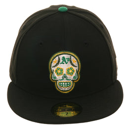 Exclusive New Era 59Fifty Oakland Athletics Sugar Skull Glow In Dark Hat - Black