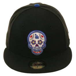 Exclusive New Era 59Fifty Los Angeles Dodgers Sugar Skull Glow In Dark Hat - Black