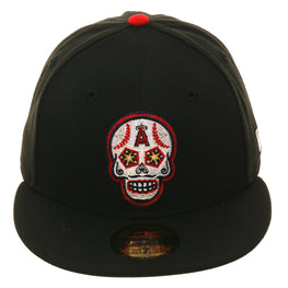 Exclusive New Era 59Fifty Los Angeles Angels Sugar Skull Glow In Dark Hat - Black