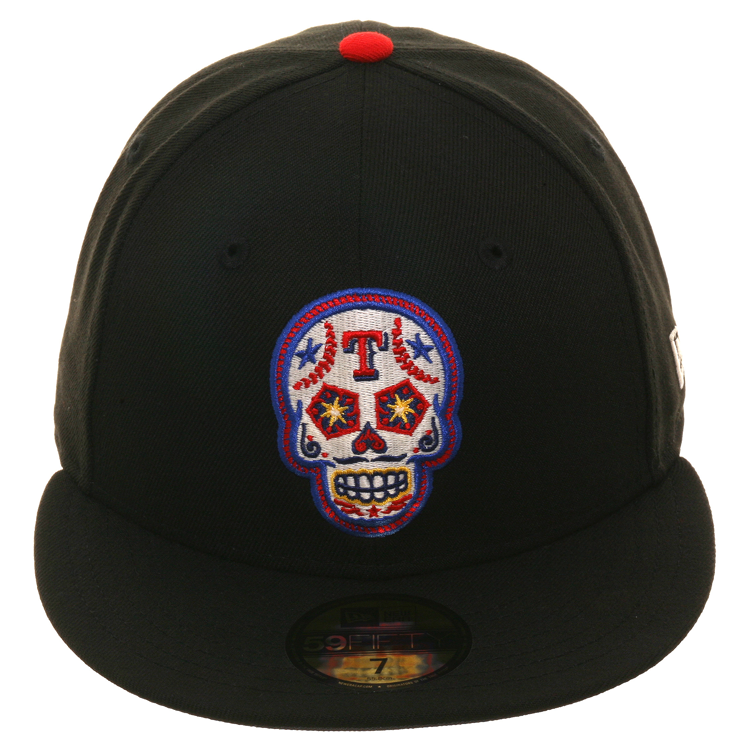 Exclusive New Era 59Fifty Texas Rangers Sugar Skull Glow In Dark Hat - Black