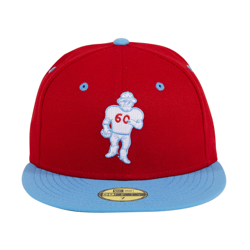 Exclusive New Era 59Fifty Oilers Roughneck Hat - 2T Red, Light Blue