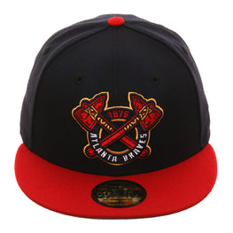 Exclusive New Era 59Fifty Atlanta Braves 1876 Hat - 2T Navy, Red