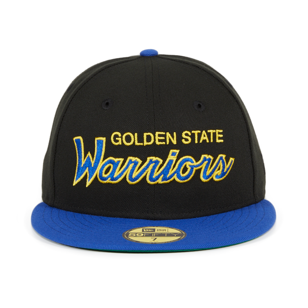 Exclusive New Era 59Fifty Golden State Warriors Script Hat - 2T Black, Royal