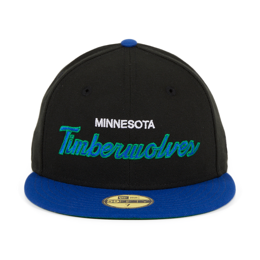 Exclusive New Era 59Fifty Minnesota Timberwolves Script Hat - 2T Black, Royal