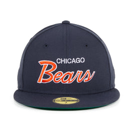 Exclusive New Era 59Fifty Chicago Bears Script Hat - Navy